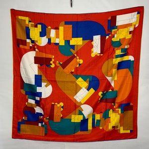"Stunning! 100% Silk Op Art 35"" Square Scarf"